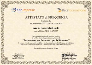 studio architettura a Abbiategrasso Milano di Bonecchi Carlo , formatore formatori per la sicurezza