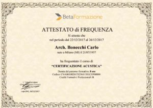 studio architettura Bonecchi Carlo , certificazione acustica